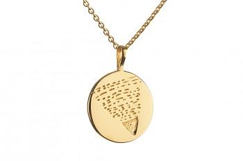Element ZEMĚ - pozlacené stříbro, odpovídá znamením zvěrokruhu Kozoroh, Panna a Býk, řetízek anchor 70 cm