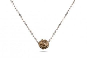 BHUSANA - Stříbrný náhrdelník, stříbrná růžovým zlatem pozlacená Rudraksha