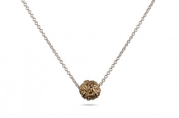 BHUSANA - Silver necklace, gold plated Rudraksha