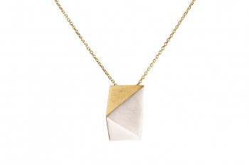 NOSHI Necklace - silver with gold plated triangle, long