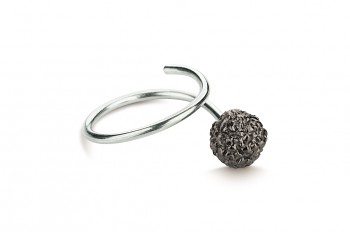 KAMA - Silver ring, Rudraksha, black rhodium