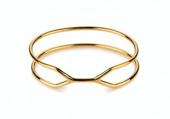CUFF ALCATRAZ Bracelet - Silver bracelet, gold plated, glossy