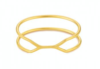 CUFF ALCATRAZ Bracelet - Stříbrný náramek, pozlacení, mat