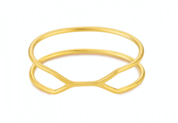 CUFF ALCATRAZ Bracelet - Silver bracelet, gold plated, matte
