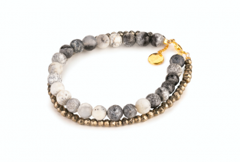 PAPUA - agate, pyrite and gold plated silver