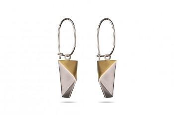 NOSHI Hanging Earrings - stříbrné náušnice s pozlaceným trojúhelníkem