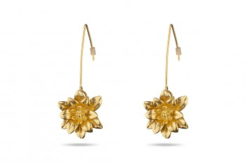 MANI PADMA - Silver earrings gold plated, large, lotus