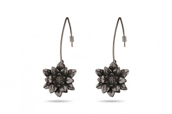 MANI PADMA - Silver earrings black rhodium plated, large, lotus