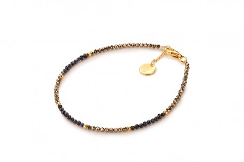 AMOA - dedicated to the desire for DECISION, saphire, pyrite and gold plated silver