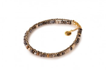 PAPUA PETIT - dedicated to the desire for HAPPINESS, agate, pyrite and gold plated silver