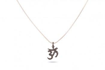 OM - Silver chainlet 53 cm, black om symbol
