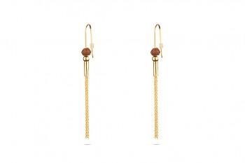 VISNU - Silver earrings, gold plated, Rudraksha seed