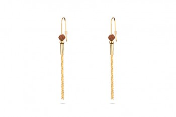 VISNU - Silver earrings, gold plated, Rudraksha seed
