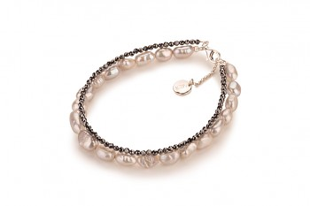 ANBARU - zasvěcen touze po LÁSCE, hematit, barokní perla a stříbro