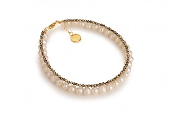 MENO - dedicated to the desire for the INNER STRENGTH, pyrite, pearl and gold plated silver