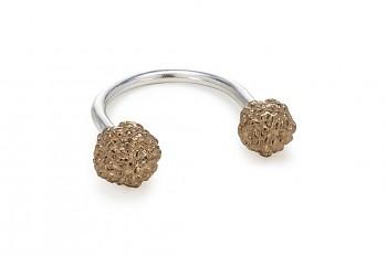 ÁSA - Stříbrný prsten, růžovým zlatem pozlacená Rudraksha