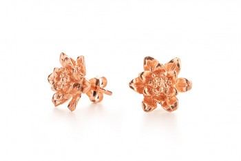 MANI PADMA - Rose gold plated earrings, lotus