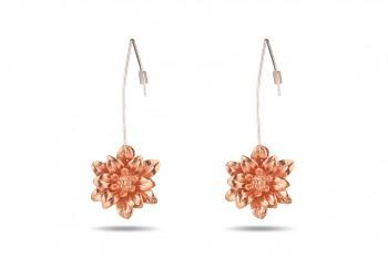 MANI PADMA - Stříbrné, růžovým zlatem pozlacené náušnice, velké, lotos