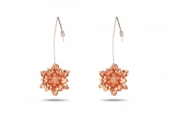MANI PADMA - Silver, rose gold plated earrings, large, lotus