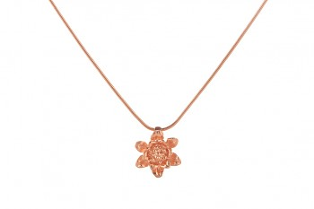 MANI PADMA - silver necklace with small lotus, rose gold plated, chain 42 cm