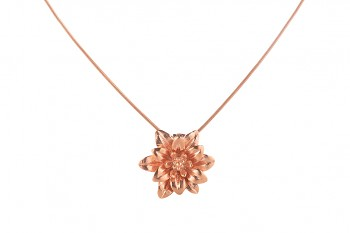 MANI PADMA - silver necklace with large lotus, rose gold plated, chain 42 cm