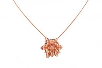 MANI PADMA - stříbrný náhrdelník s velkým lotosem, růžové pozlacení, řetízek 42 cm