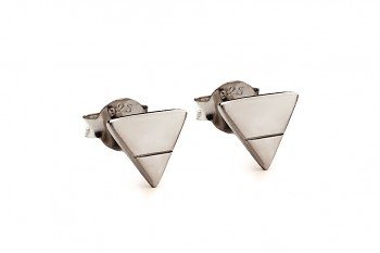 Element EARTH earrings - silver, black rhodium plating
