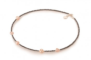 SENJA Necklace - dedicated to the desire for LOVE, hematite, pearl and silver