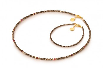 MELATI Choker - dedicated to the desire for DECISION, pyrite, ruby and gold plated silver