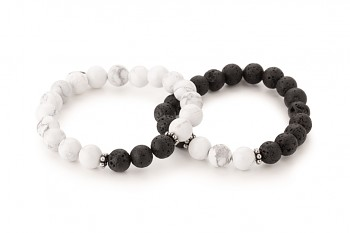 LAVA & DHÓ Set - dedicated to the desire for the INNER STRENGTH, magnesite, lava and silver