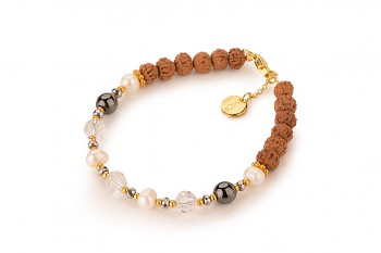 BESAKIH EMAS - zasvěcen touze po LÁSCE, perly, hematit, pyrit, křišťál, rudraksha a pozlacené stříbro
