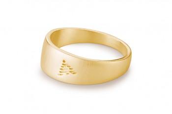 Element OHEŇ - stříbrný prsten pozlacený, mat