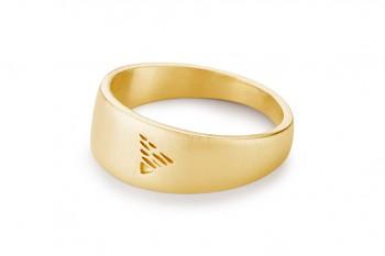 Element ZEMĚ - stříbrný prsten pozlacený, mat