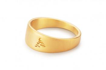 Element VZDUCH - stříbrný prsten pozlacený, mat