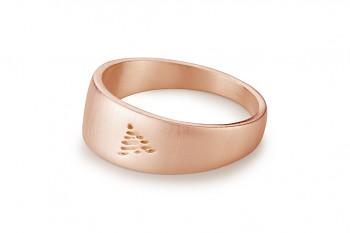 Element OHEŇ - stříbrný prsten pozlacený růžovým zlatem, mat
