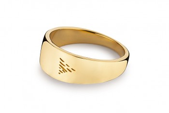 Element WATER - silver gold plated ring, lesk
