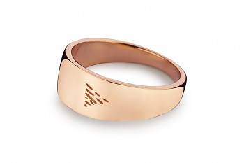 Element WATER - silver rose gold plated ring, glossy