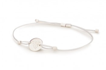 Element WATER - silver bracelet, matte, silver thread