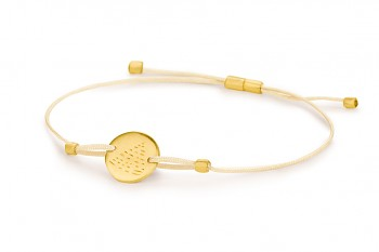 Element FIRE - silver bracelet gold plated, matte, champagne thread