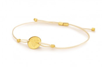 Element WATER - silver bracelet gold plated, matte, champagne thread