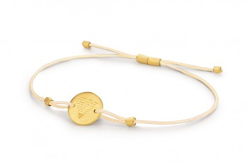 Element EARTH - silver bracelet gold plated, matte, champagne thread