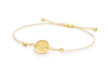 Element AIR - silver bracelet gold plated, matte, champagne thread