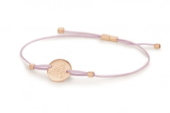 Element FIRE - silver bracelet rose gold plated, matte, lilac thread