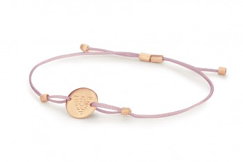 Element WATER - silver bracelet rose gold plated, matte, lilac thread