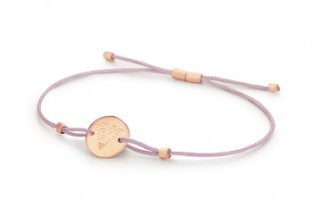 Element EARTH - silver bracelet rose gold plated, matte, lilac thread