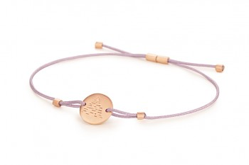 Element AIR - silver bracelet rose gold plated, matte, lilac thread