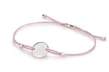 Element FIRE - silver bracelet, glossy, lilac thread