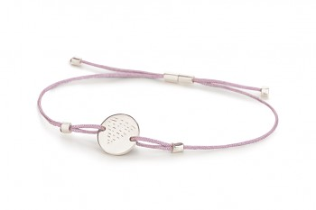 Element WATER - silver bracelet, glossy, lilac thread