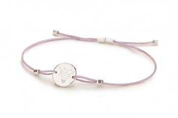 Element EARTH - silver bracelet, glossy, lilac thread