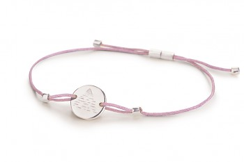 Element AIR - silver bracelet, glossy, lilac thread
